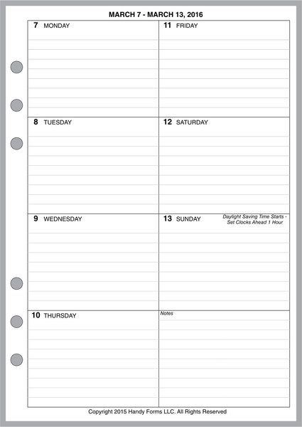 A5 Weekly Planner, 1 Page per Week, 2 Pages per Month, with Lines (Style C)