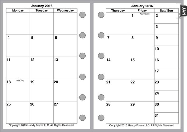 FPK Monthly Planner, 2 Pages per Month, 6-Columns, No Lines