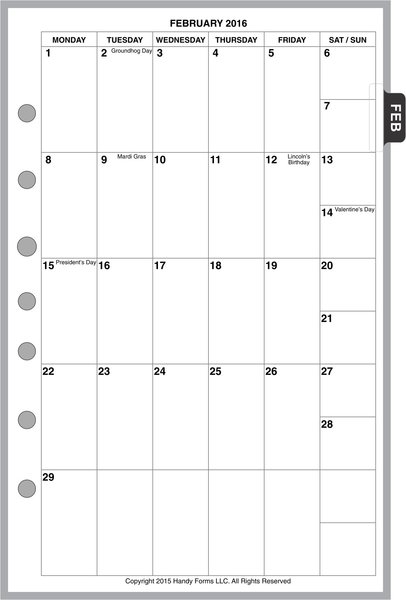 FCS Monthly Planner, 1 Page per Month, 6 Columns, Vertical, No Lines