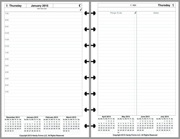 LVJ Daily Planner, 2 Pages per Day, 3 Pages per Month (Style A)