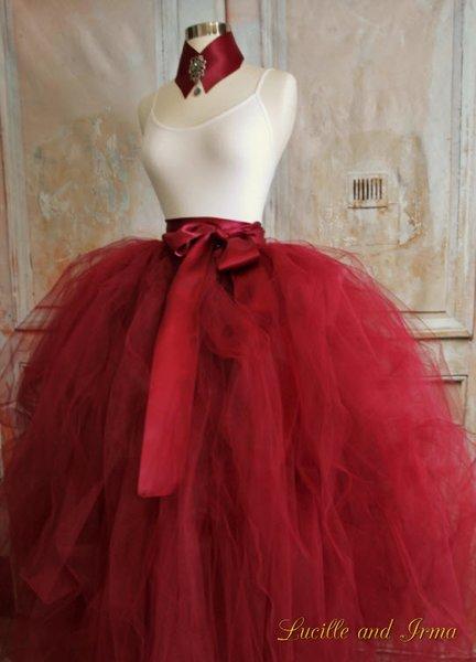 Adult Burgundy Red Tulle Skirt