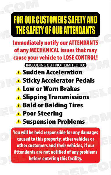 Car Wash Disclaimer, Not Responsible,Sign, Windmaster : Delcom Car Wash Signs