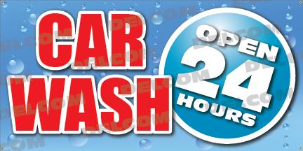 Car Wash Open 24 Hours Banner Vinyl Cheap Design Hand