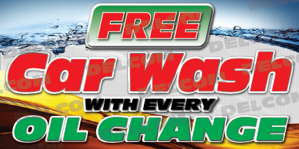 Free Car Wash Banner Lube Express Oil Change Cheap