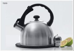 "3 Pc 1.5 Qt Stainless Steel Whistling Tea Kettle with 7.5"" Round Trivet and SS Tea Ball - Brushed Finish"