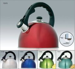 Satin Spendor 2.8 Qt Stainless Steel Tea Whistling Tea Kettle with Capsulated Bottom - Metallic Aqua (over SS)