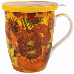 "Tea Mug w/Infuser and Lid Van Gogh ""Sunflowers"""