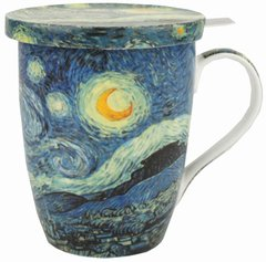"Van Gogh ""Starry Night"" Fine China Tea Mug w/Infuser and Lid"