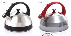 Steppes 2.8 Qt Heavy Gauge Stainless Steel Whistling Tea Kettle with Capsulated Bottom - Red Handle