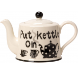 Put the kettle On Teapot by Moorland Pottery