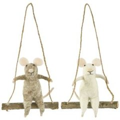 Felt mouse on a swing decoration - Grey Only