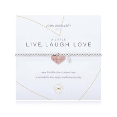 A LITTLE LIVE LAUGH LOVE BRACELET Silver Bracelet with Rose Gold LIVE, LAUGH, LOVE Heart by Joma