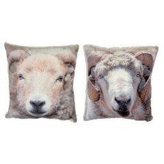 Furry-backed ram cushions
