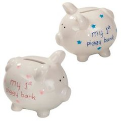 """Blue""""my first piggy bank"""""""