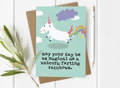 Magical Birthday Unicorn Farting Rainbows Card by Mrs Best