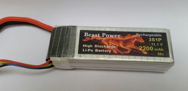 11.1V 2200 mAh 30C Lipo Battery Pack Beast Power