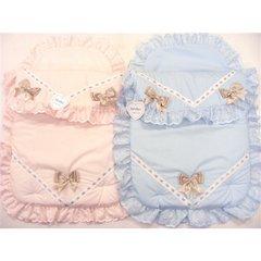 Kinder satin bow pram set - blue or pink