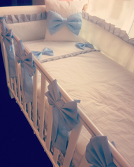 Boys custom made cot bedding set in white, blue and grey.