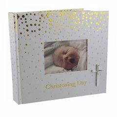 Christening Day album with cross