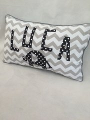 Personalised Elephant and Chevron Cushion