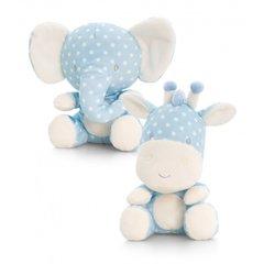 20cm blue spotty elephant or giraffe soft toy