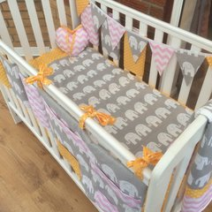 Bright and funky elephant, polka dot and chevron baby cot bedding set