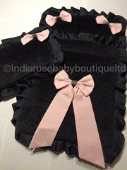 Snuggly black minky pram set with frills and bows