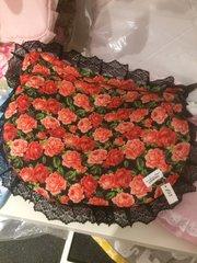 Black & red floral lace car seat apron