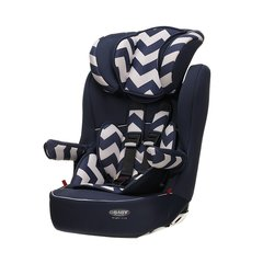 Obaby Group 1-2-3 High Back Booster Car Seat - Navy ZigZag