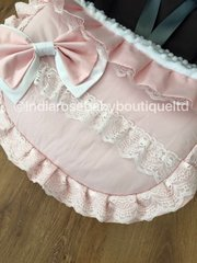 Pink broderie anglaise frill car seat apron