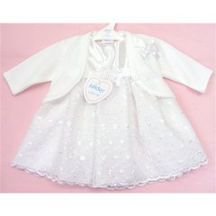 White flower organza dress & bolero set