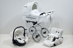 Retro baby pram and pushchair 3in1 - White leatherette