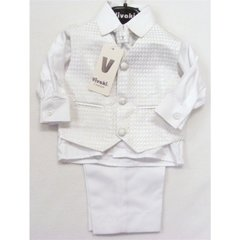4 Piece all white silver dot suit