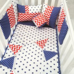 Boys Navy & Red Stars, Spots & Chevrons Cot Bedding Set