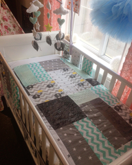 Elephant themed patchwork cot bedding