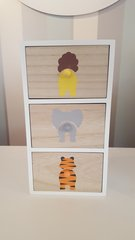 Small triple safari tails drawer unit