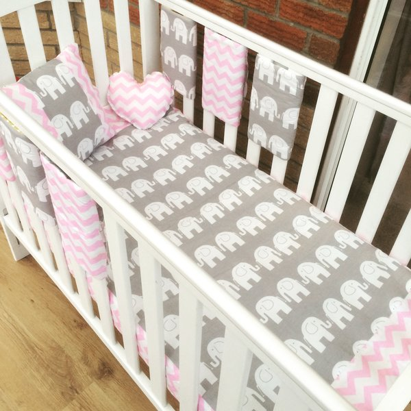 Beautiful grey and pink elephant/chevron baby bedding set (traditional or bar bumpers available)