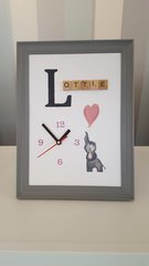 Hand-painted Personalised elephant Clock