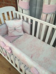 Pink toile with grey trim cot bed set
