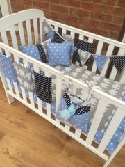 Blue Stars, Polka Dot and Elephant Cot Beddding Set.
