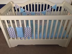 Blue Polka Dot/Grey Chevron Cot Bedding Set