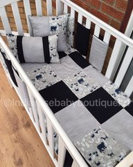 Grey, navy and woodland patchwork bedding set
