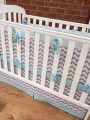 Modern Grey & Blue Chevron Baby Bedding