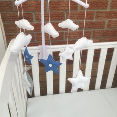 Custom made stars and clouds cot mobile