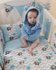 Custom designed & handmade Blue & Grey Elephant, Chevron & Polka Dot Cot bedding Set