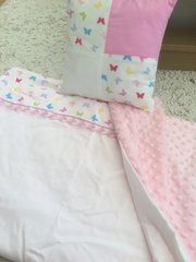Classic White and Pink Butterfly Blanket Set