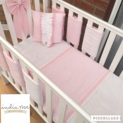 Pink polka dot with frilled cushion cot bed set
