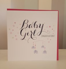 Baby Girl with Elephants Greeting Card