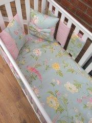 Duck egg and pink floral/bird bedding set