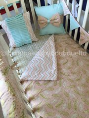 Reversible Mint/pink chevron, geo feather cot bed set with gold.